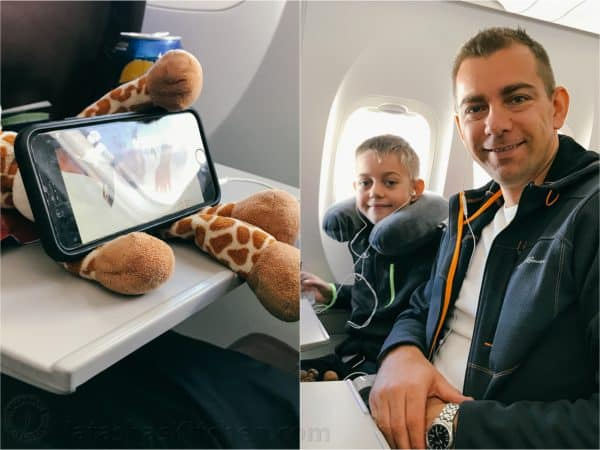 Two photos one of son and father in an airplane and one of a stuffed giraffe and phone