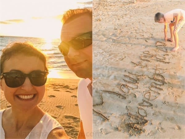 Two photos a selfie of Natasha and her husband and a boy writing in the sand