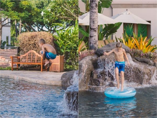 Two photos of a young boy jumping into a pool