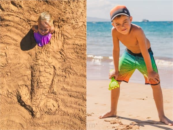 Two photos one of a girl buried in sand and one of a boy standing on the beach