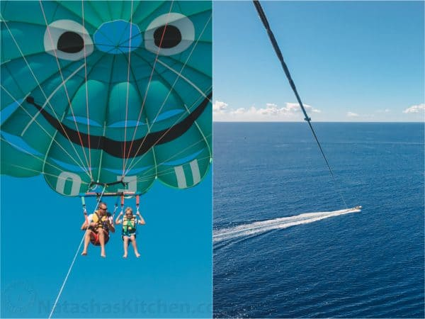 Two photos one of people parasailing and one of a bird\'s eye view of a boat