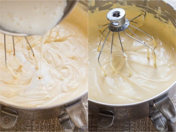 Two photos of pumpkin mousse being mixed in a mixing bowl
