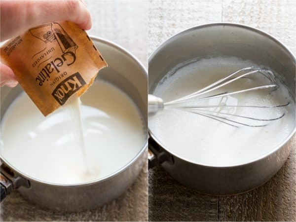 Two photos of bowls with a mixture inside one has a whisk and one has gelatin being poured in