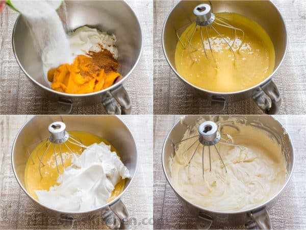 Four photos of pumpkin mousse being mixed in a mixing bowl
