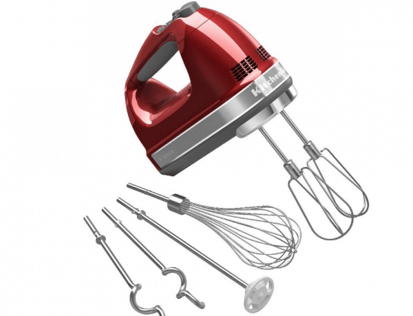 Red KitchenAid hand mixer with appliances