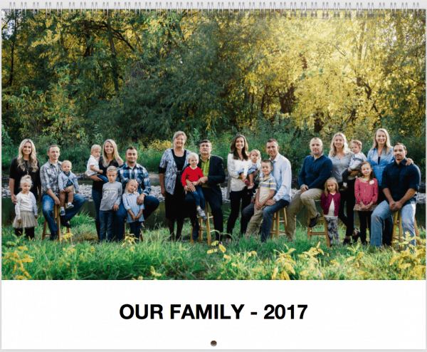 A family photo that says our family-2017 at the bottom