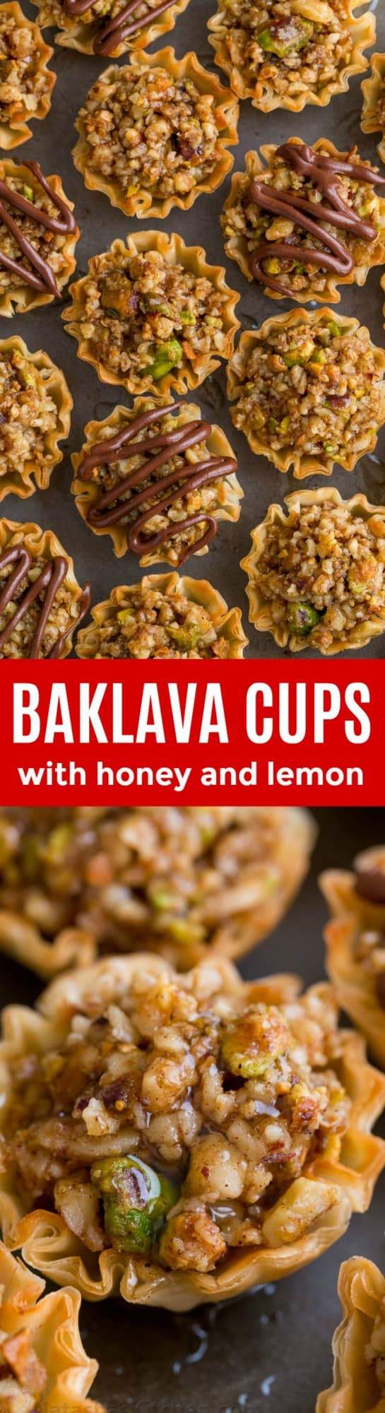 Mini Baklava Cups taste like authentic baklava but easier! The honey and lemon syrup make these baklava cups completely irresistible. A make-ahead recipe! | natashaskitchen.com
