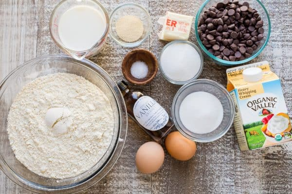 Ingredients on the table for Chocolate Babka