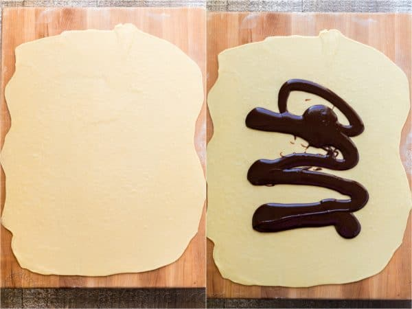 Two photos of dough rolled out for Chocolate Babka, one has chocolate being spread on it