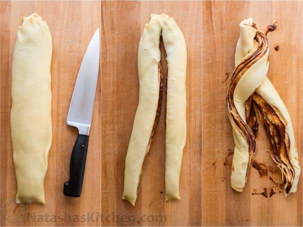 Three photos of dough for Chocolate Babka being cut