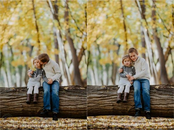 Two photos of a boy and girl sitting on a log