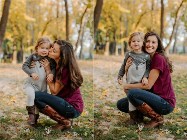 Two photos of a mother and daughter with fall trees in the background