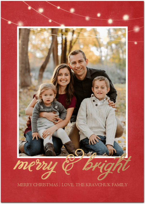 A Christmas card of a family that says merry and bright