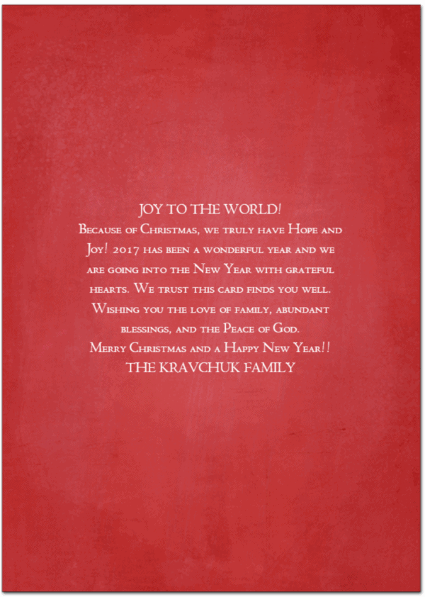 here is the back of this years christmas card - Merry Christmas To The Family