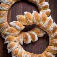 How to Make a Bread Wreath with DIY video! Wreath bread has a crisp crackly crust and super soft center. Surprisingly easy and impressive for Christmas! | Natashaskitchen.com