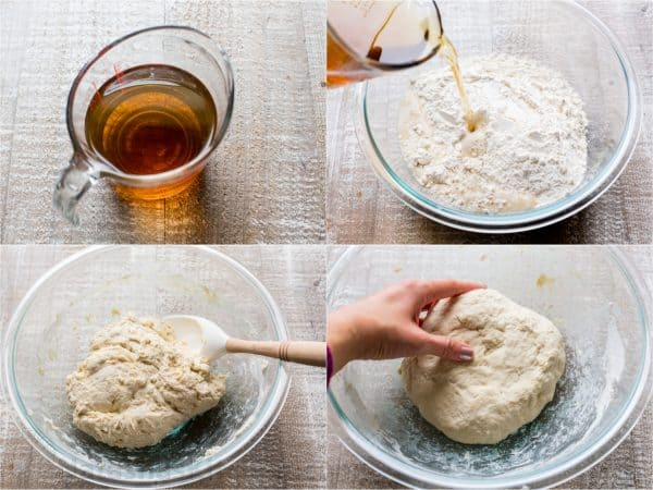 Four photos of dough for Wreath bread being made