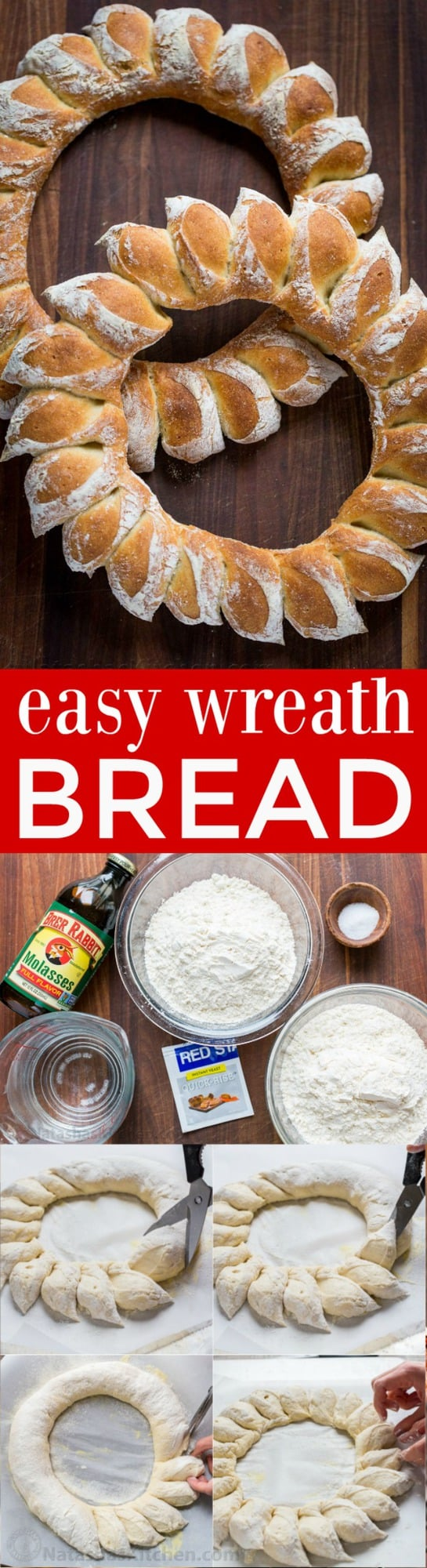 "How to Make a Wreath Bread with DIY video! Wreath bread has a crisp crackly crust and super soft center. Surprisingly easy and impressive Christmas bread wreath! | natashaskitchen.com"" width="
