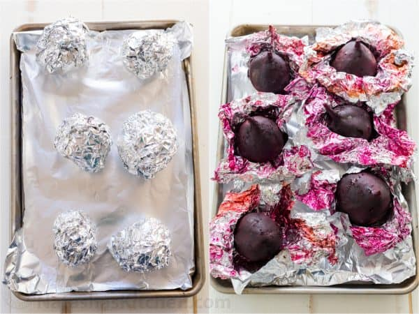 Two photos with beets on a cooking tray, in one beets are wrapped in foil in other unwrapped