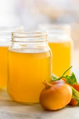 How to make nutrient rich, flavorful chicken stock (bone broth) in an instant pot, slow cooker, or stovetop. Use homemade chicken bone broth in any recipe.   natashaskitchen.com