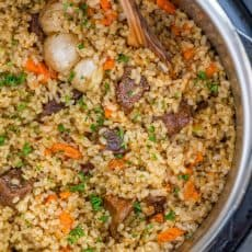 Making beef plov in an instant pot is so quick and easy and using brown rice is genius. This Instant Pot Rice recipe is a healthier, juicier and flavor packed version of beef plov | natashaskitchen.com
