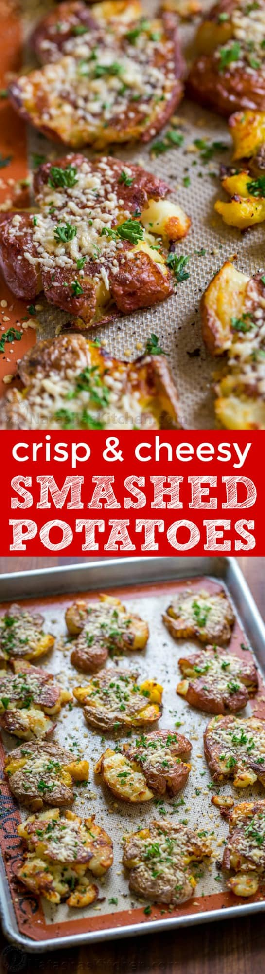 These cheesy smashed potatoes are crisp on the outside with a creamy center and irresistible cheesy crust. | natashaskitchen.com