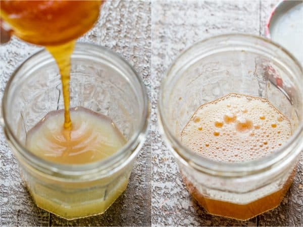 Two photos of glass jars with dressing