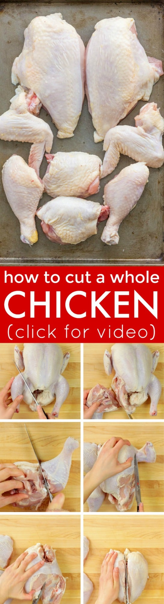 Cutting a whole chicken is easy! Video tutorial on how to cut up a whole chicken! Save money and use the carcass for the homemade chicken stock! | natashaskitchen.com