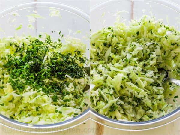 Two photos of bowls with shredded cabbage