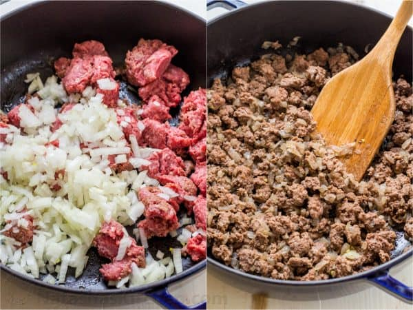 Two photos of skillets with meat for Lasagna Casserole