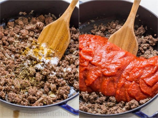 Two photos of skillets with meat for Lasagna Casserole, one has sauce added