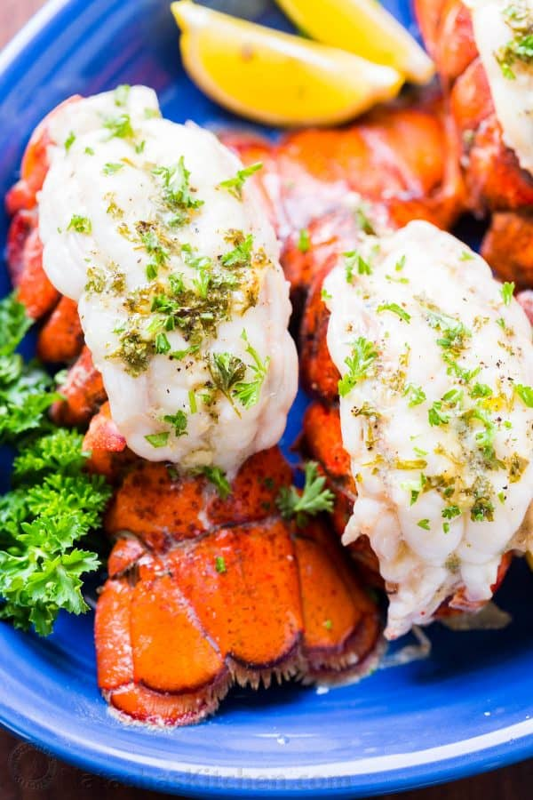 Baked lobster tails on a platter