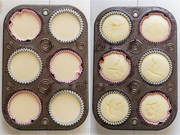 Two photos of mini strawberry cheesecakes in a lined cupcake tin