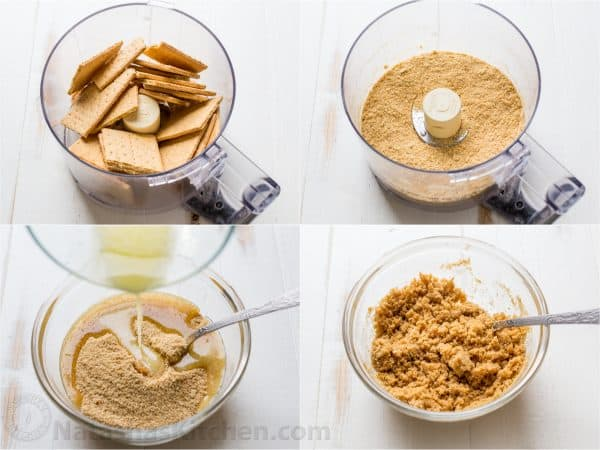 Four photos two of graham crackers in a food processor and two in a bowl