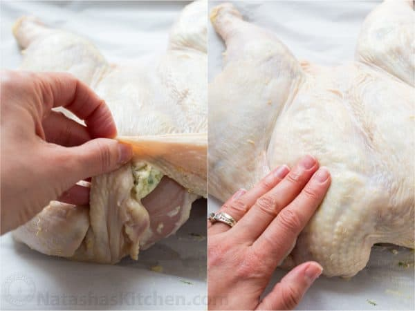 Two photos of herbed butter being put under the skin on a whole chicken