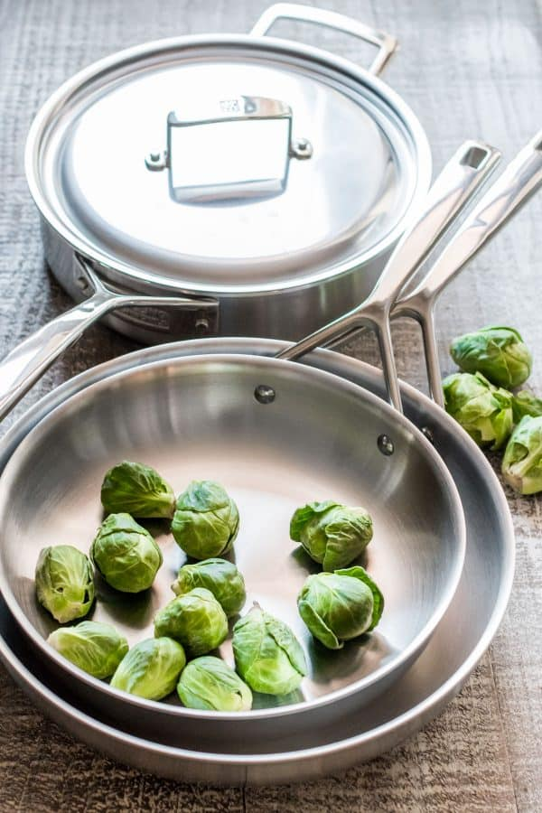 Zwilling J.A. Henckels cookware with brussel sprouts in a pan