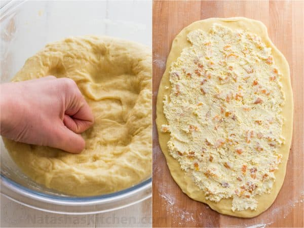 Two photos of dough for Braided Easter bread one in a bowl and one rolled out