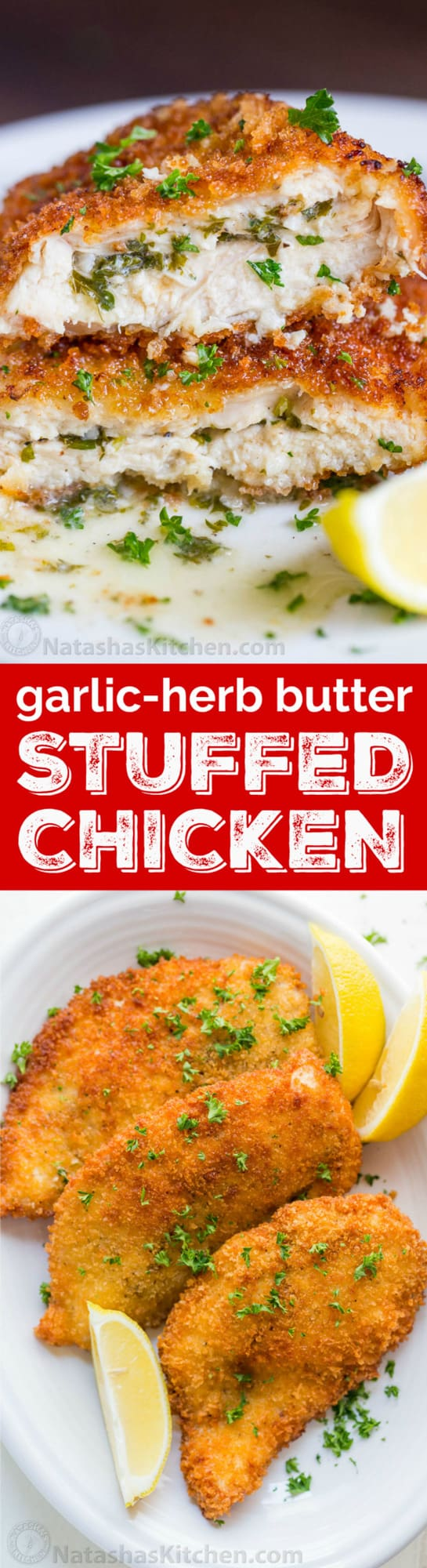 This Stuffed Chicken Recipe is no ordinary stuffed chicken breast! The first cut into the chicken produces a juicy burst of hot lemon-herb butter and makes the chicken so juicy and flavorful. The easy version of the classic Chicken Kiev. Excellent stuffed chicken recipes!