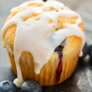 Blueberry Muffins with lemon glaze and fresh blueberries scattered