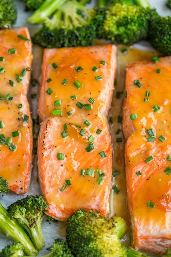 Juicy flaky salmon recipe with apricot dijon glaze, a mustard glazed salmon