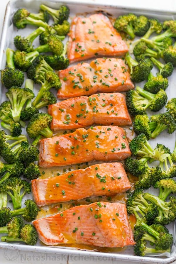 apricot dijon glazed salmon, easy salmon recipe baked with broccoli