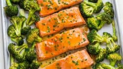 Apricot Dijon Salmon and Broccoli is an easy, excellent one-pan salmon meal. The sweet and savory apricot glaze seals in the juices of the salmon making it moist and flaky. You will enjoy every bite of this apricot glazed salmon. Learn: What is the difference between wild caught and farmed salmon