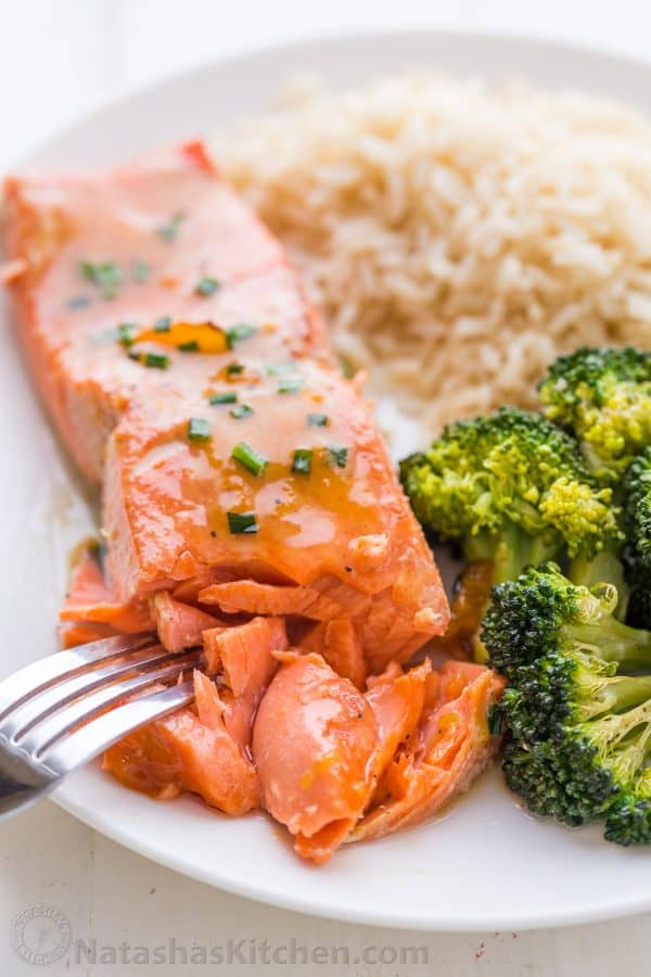 What flaky salmon looks like, juicy salmon recipe with sweet glaze, apricot dijon glaze