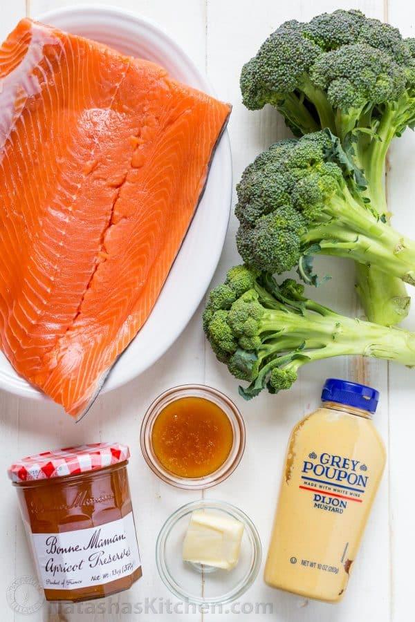 Ingredients for Apricot Dijon Chicken - wild caught salmon vs farmed salmon