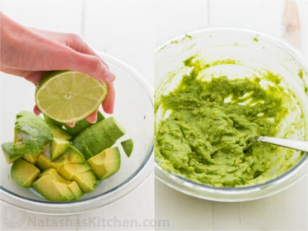 how to make avocado spread by mashing avocado and adding lime juice
