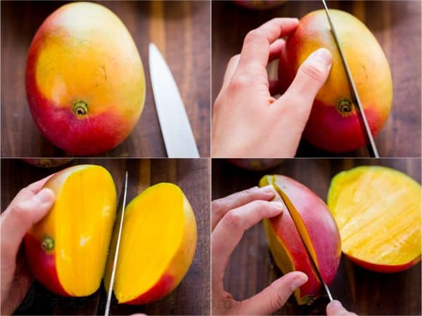 how to cut a mango slicing the sides away from the pit