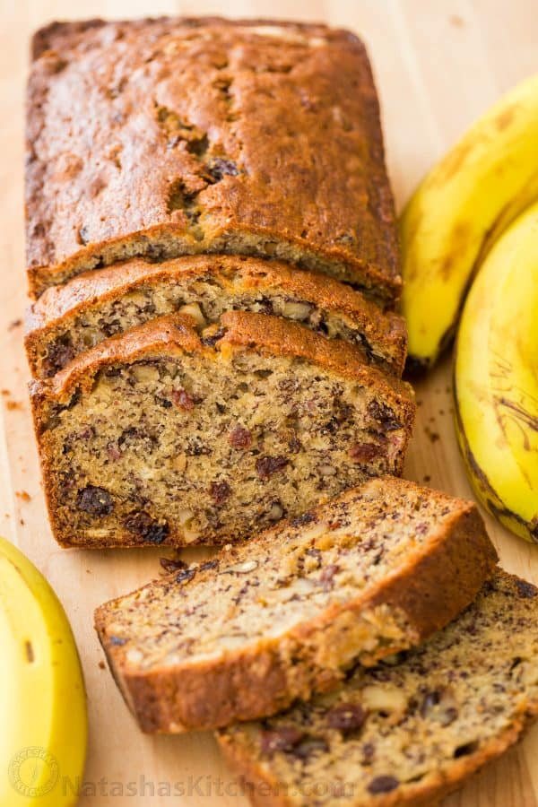 Moist banana bread recipe sliced to show banana nut bread center