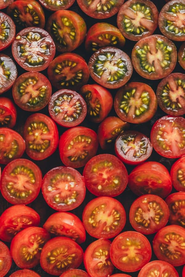 how to cut cherry tomatoes for cherry tomato recipes