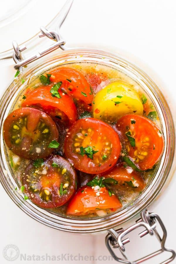 Italian marinated tomatoes with Italian dressing marinade for the best cherry tomatoes recipe