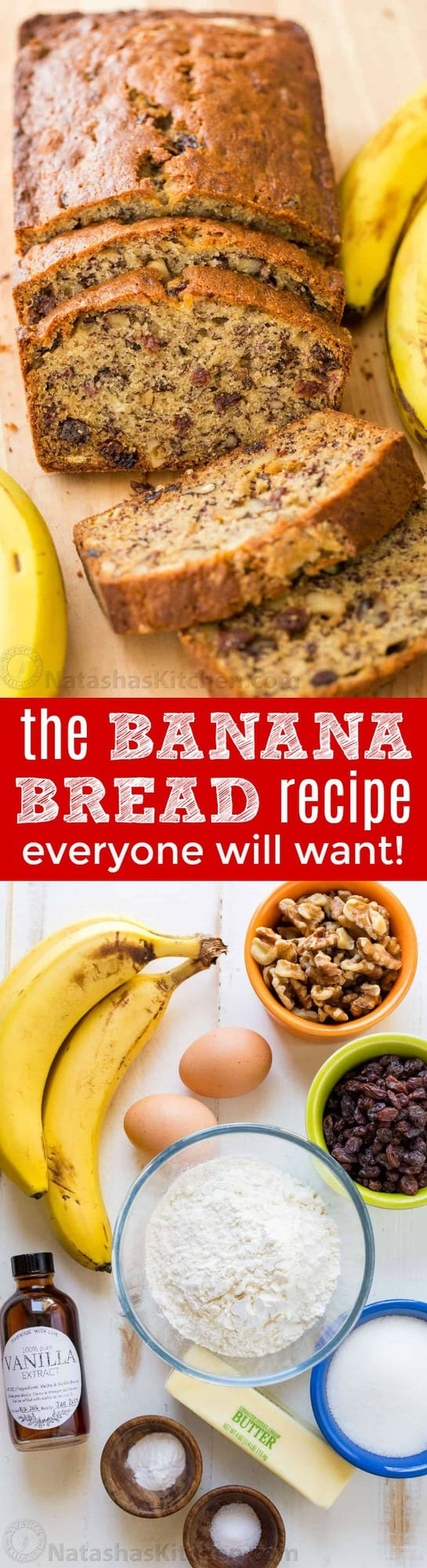 This Banana Bread Recipe is loaded with ripe bananas, tangy sweet raisins and toasted walnuts making it a banana nut bread. One of our favorite ripe banana recipes and even better with overripe bananas! This banana nut bread is super moist, easy and makes a great breakfast on-the-go. | natashaskitchen.com