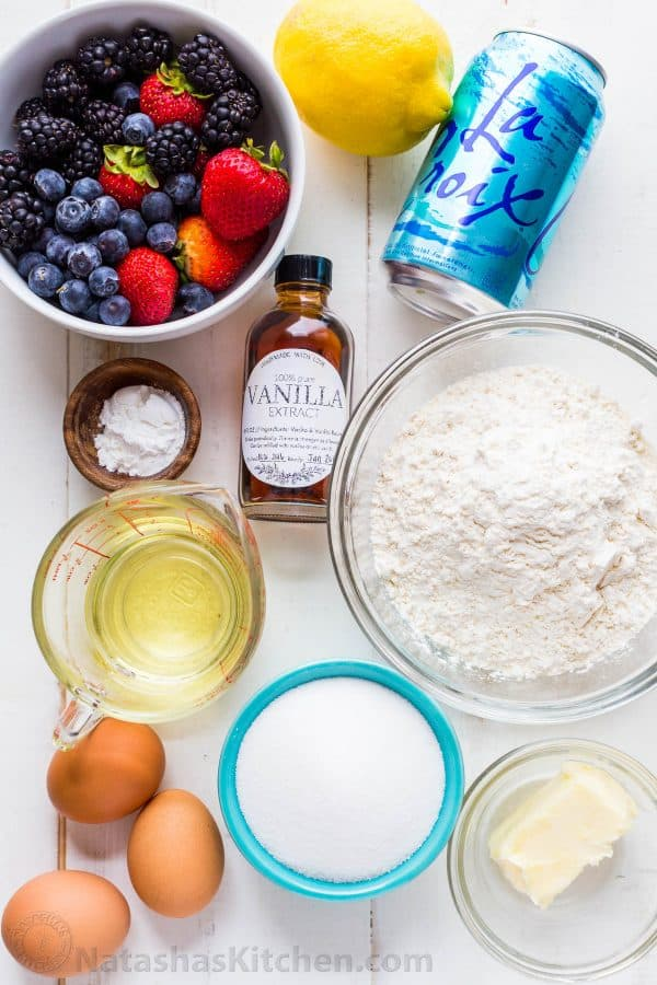 Ingredients for berry crumb cake with seltzer water or club soda in baking